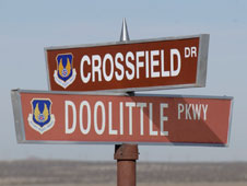 The former Crest Drive on Edwards Air Force Base has been renamed Crossfield Drive at its intersection with Doolittle Parkway in honor the late NACA research test pilot Scott Crossfield.