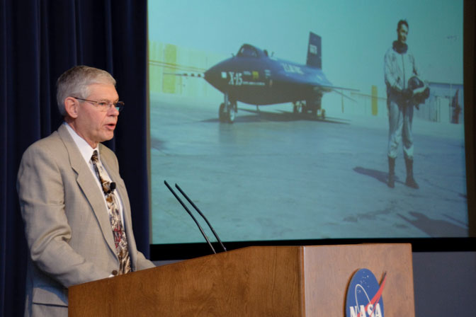 Retired NASA Dryden research pilot Ed Schneider gave tribute to the late NACA research test pilot Scott Crossfield during presentations at Edwards Air Force Base and at NASA Dryden Flight Research Center Jan. 18 in connection with the dedication of an Edwards street in Crossfield's honor.
