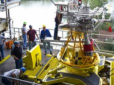 Stennis Space Center engineers in southern Mississippi lower the J2X powerpack assembly in at A1 test stand.