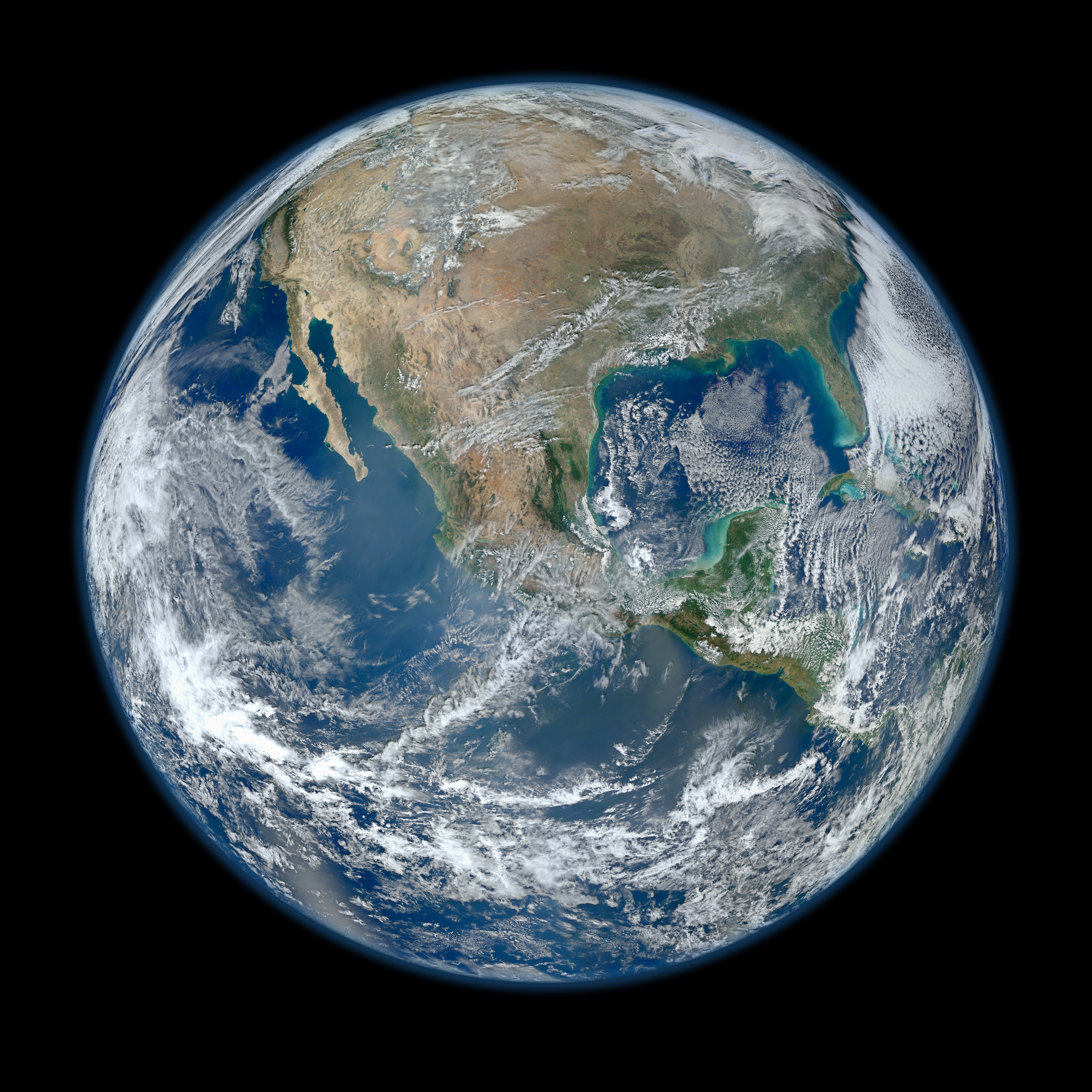A 'Blue Marble' image of the Earth taken from the VIIRS instrument aboard NASA's most recently launched Earth-observing satellite - Suomi NPP. This composite image uses a number of swaths of the Earth's surface taken on January 4, 2012. The NPP satellite was renamed 'Suomi NPP' on January 24, 2012 to honor the late Verner E. Suomi of the University of Wisconsin. Image Credit: NASA/NOAA/GSFC/Suomi NPP/VIIRS/Norman Kuring