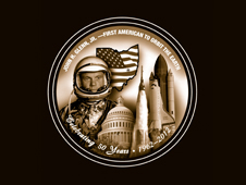 A commemorative medallion showing the key components of John Glenn's legacy.