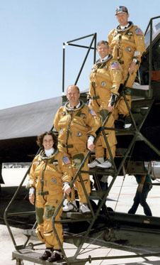 Flight engineers Marta Bohn-Meyer and Bob Meyer and pilots Eddie Schneider and Rogers Smith flew the SR-71s in high-speed research experiments. From top to bottom are Smith, Schneider, Meyer and Bohn-Meyer.