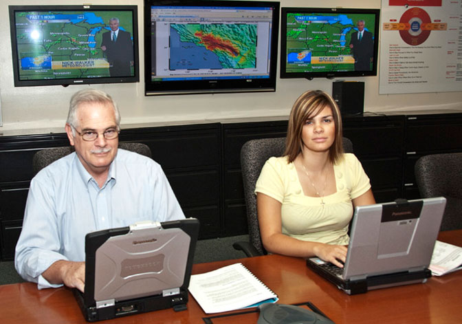 Jack Vechil and Leah Carreno were preparing for the center's involvement in a Southern California disaster preparedness exercise at the Dryden Emergency Operations Center in 2008.