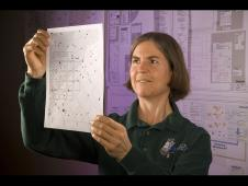 Janice Voss with a diagram of the Kepler field of view
