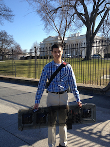 After demonstrating a team robot inside the White House, Eric Bakan helped breakdown the robot control center. Here he holds the control board outside the East Wing