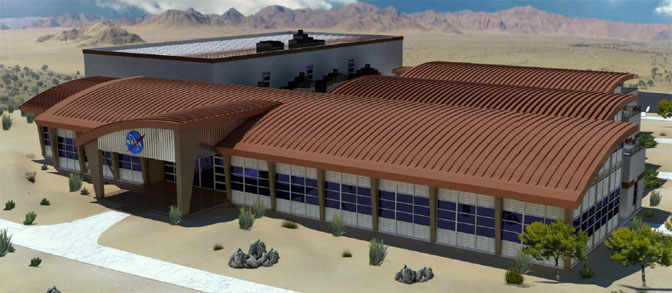 This architect's drawing depicts the front of the new Facilities Support Center now under construction at NASA Dryden.