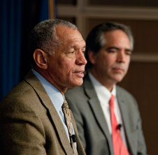 Charlie Bolden and David McBride responded to employees' questions during a town hall session during Bolden's visit to NASA Dryden.