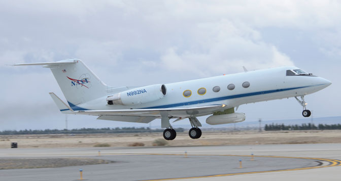 NASA's Gulfstream III aircraft No. 992 lifts off from U.S. Air Force Plant 42 in Palmdale, Calif., for a flight to its home base at NASA's Johnson Space Center in Houston following installation of a synthetic aperture radar in an underbelly pod at NASA's Dryden Aircraft Operations Facility