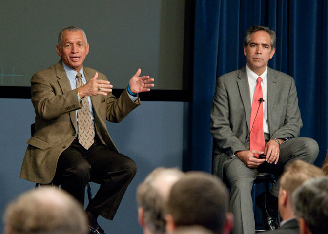 NASA Administrator Charlie Bolden and Center Director David McBride responded to employees' questions at a town hall during Bolden's visit.