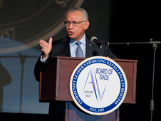 NASA Administrator Charlie Bolden talks at the Outlook Conference.