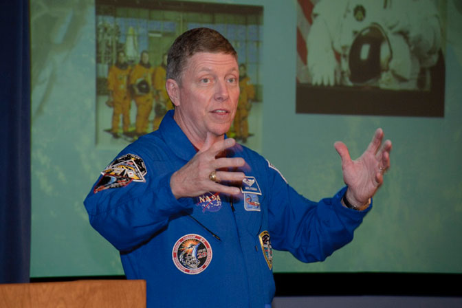 NASA astronaut Mike Fossum shared stories about his two space shuttle missions and five months aboard the International Space Station with Dryden employees.