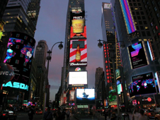 Thomson Reuters and NASDAQ digital signboards in New York's Times Square