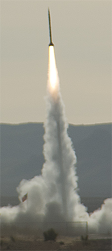 UP Aerospace' SL-6 rocket soars aloft from a Spaceport America launch pad in New Mexico carrying small DoD and NASA payloads.