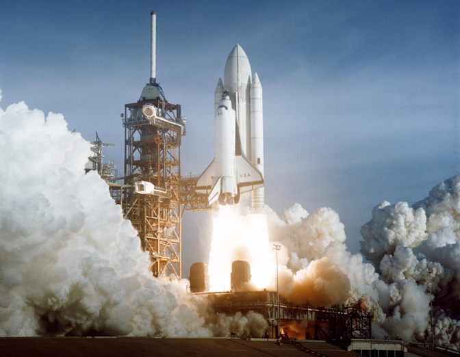 The thunder of manned space flight returned to the Kennedy Space Center in Florida on April 12, 1981 as Space Shuttle Columbia launched from Pad 39A on STS-1, the first shuttle orbital test flight.