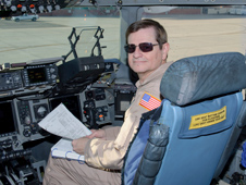 Frank Batteas, Associate Director for Flight Operations at NASA Dryden, was in the co-pilot's seat when the first Air Force C-17 Globemaster III flight test aircraft flew out of Edwards Air Force Base for retirement at the National Museum of the Air Force in Dayton, Ohio April 23.