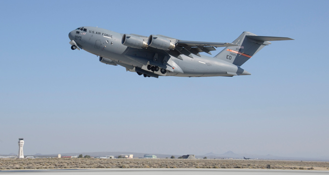 The first U.S. Air Force C-17 Globemaster III lifts off Runway 22L at Edwards Air Force Base April 23 on its way to Wright-Patterson Air Force Base in Ohio.