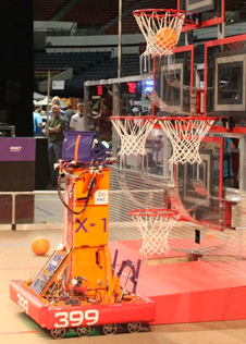 Lancaster High's X-1 robot scores another dunk at the previous San Diego FIRST regional games.