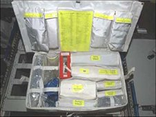 The Advanced Life Support Pack includes important items, such as saline solution, used for crew health purposes aboard the International Space Station. (NASA)