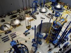 Four aluminum domes, created using innovative friction stir welding processes, are seen in this view of the Marshall Space Flight Center Advanced Welding and Manufacturing Facility.