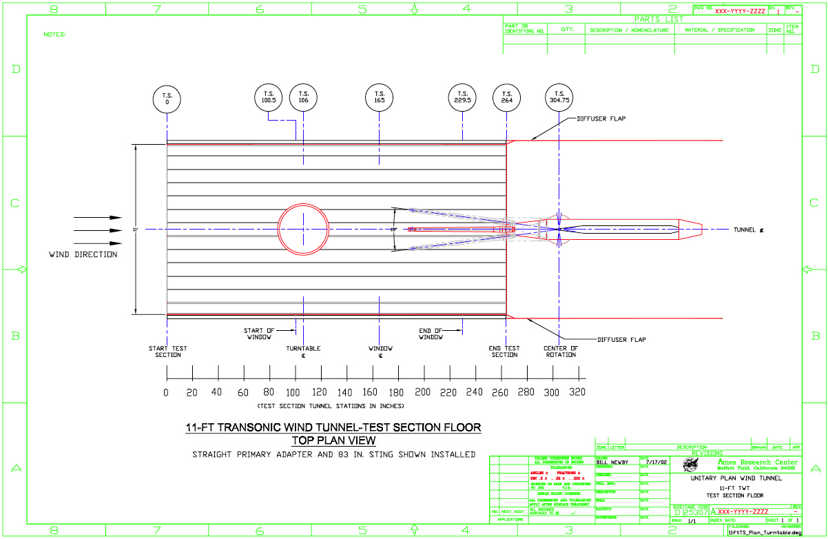 11 ft Transonic Wind Tunnel Test Section Drawings Plan View