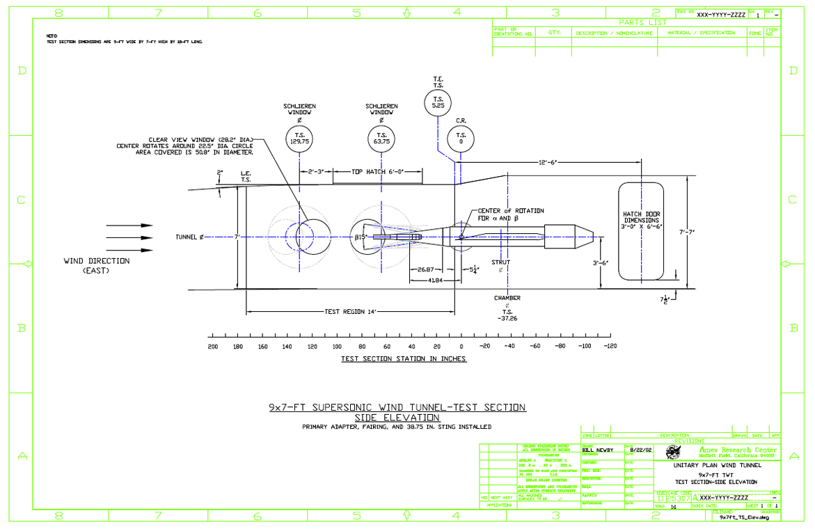 9x7 Ft. test section dimensions elevation view drawing