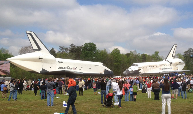 During ceremonies marking the arrival of Discovery to the Smithsonian National Air and Space Museum's Stephen F. Udvar-Hazy Center in Chantilly, Va., and Enterprise leaving the center, the shuttles were displayed facing.