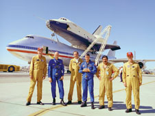 Flight crewmembers of Enterprise and the host NASA 747 SCA included, from left, Fitz Fulton, Gordon Fullerton, Vic Horton, Fred Haise, Vincent Alvarez and Tom McMurtry.