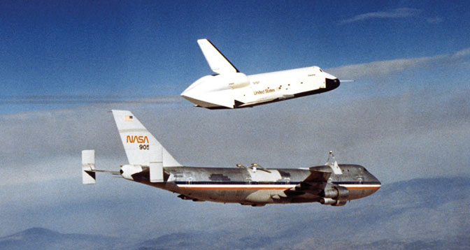 The first of Enterprise's five free flights from the NASA 747 Shuttle Carrier Aircraft at Dryden in 1977 were part of the shuttle program approach and landing tests. The tests verified the shuttle's aerodynamics and handling characteristics in preparation for orbital flights with Columbia.