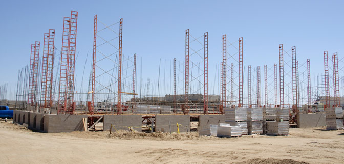 A small forest of crank-up scaffolding and rebar rises at the construction site of NASA Dryden Flight Research Center's new Facilities Support Center in this photo taken on June 4, 2012.