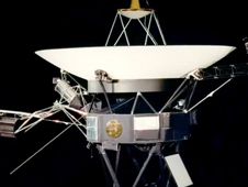 Still from animation of Voyager spacecraft.