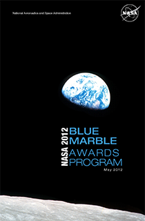 Blue Marble Awards 2012 Program Cover - A picture of the Earth as viewed from the Moon