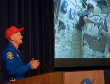 Sturckow noted that moving large packages from the logistics module into the space station was like pushing pillows in the weightlessness of space.