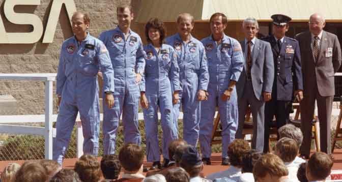 Sally Ride and her fellow STS-7 astronauts were joined by other NASA and Air Force officials for photos after greeting NASA Dryden employees and visitors following her historic space shuttle mission on the shuttle Challenger on June 24, 1983.