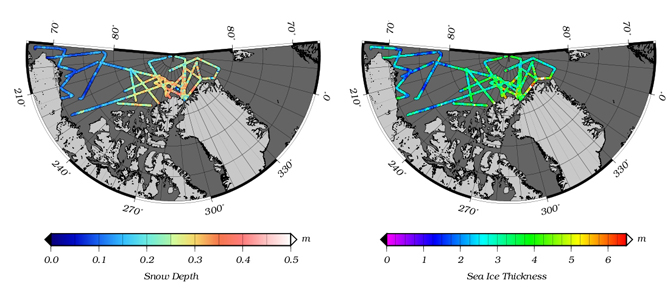 Example of snow depth and sea ice thickness data from the new quick-look data product.