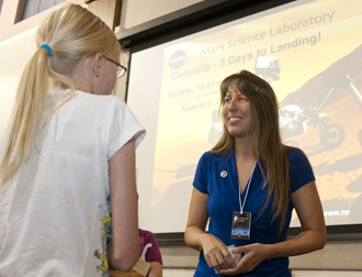 Dr. Kelly Fast answers questions from Gillian Carter of Palmdale following one of her presentations on NASA's Mars Science Laboratory and its Curiosity rover.