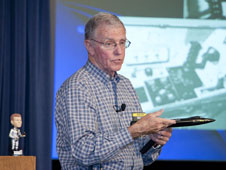 Retired test pilot and astronaut Joe Engle recounted the X-15's contributions to space flight during his colloquium presentation at NASA Dryden.