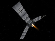 Artist's concept depicts NASA's Juno spacecraft during a burn of its main engine