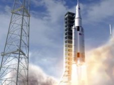 Artist concept of the NASA Space Launch System initial crew vehicle launching from the Kennedy Space Center.