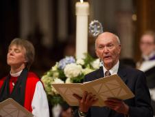 Apollo 11 command module pilot Michael Collins leads prayers during a memorial service celebrating the life of Neil Armstrong at the Washington National Cathedral, Thursday, Sept. 13, 2012.