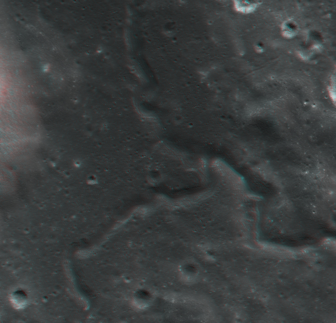 3-D image of Alpes Sinuous Rille on the moon