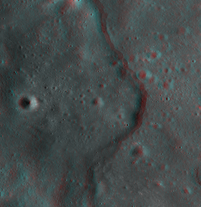 3-D image of lobate scarps (a type of cliff) on the moon
