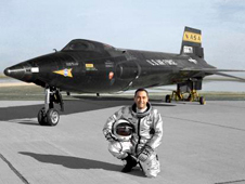 Air Force pilot William J. -Pete- Knight is seen here in front of the X-15A-2.