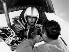 Scott Crossfield in cockpit of the Douglas D-558-2 Skyrocket after first Mach 2 flight.