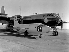 XS-1 on the ramp with the B-29 mothership in 1949. This is the second XS-1 built; it later was converted into the X-1E.