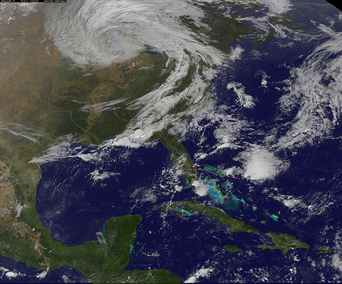 This image from GOES-13 was taken at Thursday, Oct. 18, 2012. The satellite has resumed operations.