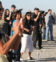 Dryden Director of Mission Support Gwen Young joined NASA Social media attendees in welcoming Endeavour to Dryden.