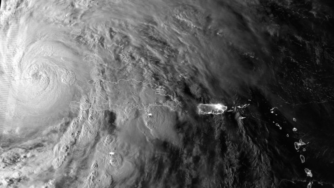 On Oct. 25, 2012, NPP passed over Sandy, showing areas of deep convection around the central eye.
