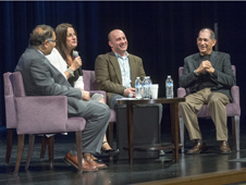 Shown addressing the crowd during a question and answer session were (from left) Jacob Cohen, chief scientist at NASA Ames Research Center; Rona Ramon, widow of Ilan Ramon; Garrett Reisman, former astronaut; and Dan Cohen, director of