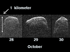 This composite image of asteroid 2007 PA8 was obtained using data taken by NASA's 230-foot-wide (70-meter) Deep Space Network antenna at Goldstone