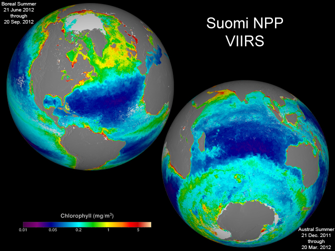 These two images are season-long composites of ocean chlorophyll concentrations derived from visible radiometric measurements made by the VIIRS instrument on Suomi NPP.